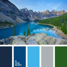azul oscuro y celeste, color gris, color lago de montaña, color verde, color verde bosque, colores muy contrastantes, combinación de colores para decorar interiores, elección del color, matices del azul oscuro, selección de colores para el diseño de interiores, tonos celestes.