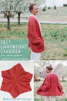 Free, Easy Crochet Sweater Pattern - A Cardigan Made from 2 Hexagons! - Meintje Zwerver - - Free, Easy Crochet Sweater Pattern - A Cardigan Made from 2 Hexagons! Pull Crochet, Mode Crochet, Crochet Gratis, Easy Crochet, Crochet Style, Crochet Jacket, Crochet Poncho, Crochet Mandala, Hexagon Crochet