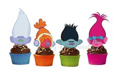 Trolls cupcake Toppers Trolls cake toppers by HappywithPrintables