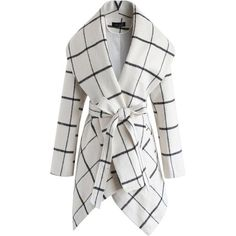Chicwish Prairie Grid Rabato Coat in Off-White (285 BRL) ❤ liked on Polyvore featuring outerwear, coats, white, white coat and off white coat