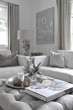 ♅ Dove Gray Home Decor ♅  white & grey living room