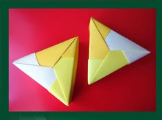 Easy origami Triangle gift box.  Ideas for gifts. Треугольная коробочка....