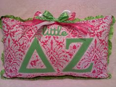 Little or Big Delta Zeta Sorority pillow pink and by MamaBern