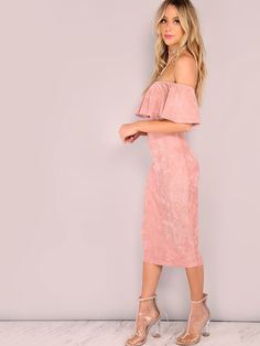 Online shopping for Faux Suede Ruffled Bardot Bodycon Midi Dress PINK from a great selection of women's fashion clothing & more at MakeMeChic.COM.