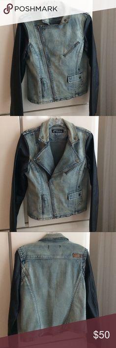 "Volcom Denim Jacket Volcom Denimes Biker Jacket with pleather sleeves. Size M. 22"" Length. 16 1/2"" pit to pit. NEW Volcom Jackets & Coats Jean Jackets"