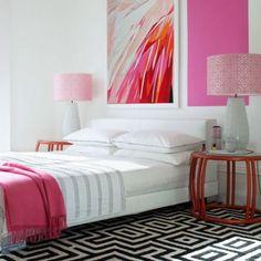 greek key rug and pops of pink...updated girls room