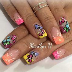 Uñas French Nail Designs, Creative Nail Designs, Nail Polish Designs, Creative Nails, Nail Art Designs, Spring Nail Art, Spring Nails, Summer Nails, Fabulous Nails