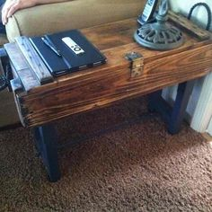 Wow  I have a table like this, ( or wood box anyway ) and it soon be a table.  Old white and lite blue peeling paint.
