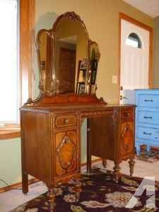 Antique Dressing Table 1930 1930s Vanity With Mirror