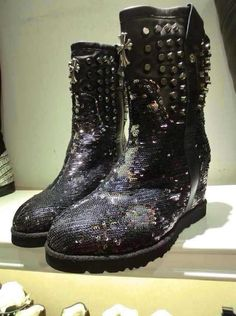 Cross punk leather rivets sequins winter boots