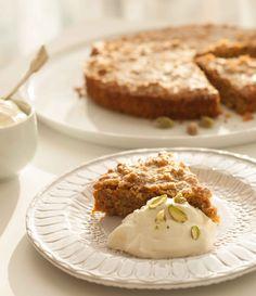 Gluten Free Carrot Almond Pistachio Cake with Rose Water Cream