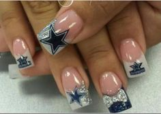 Pin by marci whipple on finger nails pinterest manicure ideas dallas cowboys nail art dallas cowboys nails i think i like these the best prinsesfo Gallery