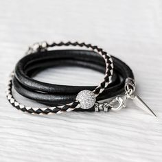 Hey, I found this really awesome Etsy listing at https://www.etsy.com/listing/187489311/black-white-sterling-pave-bangle