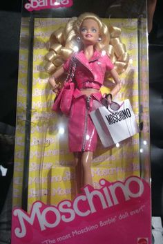 """""""The most Moschino Barbie doll ever!"""" Barbie front-row swag at Moschino."""