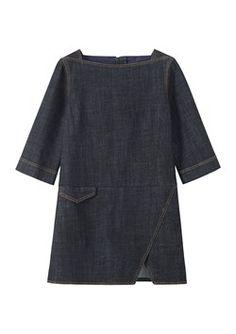 denim dress with drop waist
