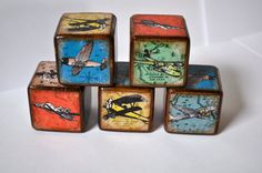Room Decor Blocks  Vintage Airplane Childrens by YoureItKids, $26.25