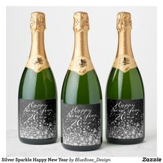 Silver Sparkle Happy New Year Champagne Label Custom Wine Bottles, Wine Bottle Labels, Champagne Label, Champagne Bottles, Personalized Wine Labels, Wedding Reception, Elegant Wedding, Wedding Decor, Rustic Wedding