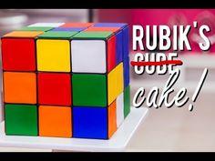 Vanilla Rubik's Cube Cake with a Black Chocolate Ganache Grid – HOW TO CAKE IT