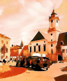 Bratislava's Donuted cityscape #painting #watercolor