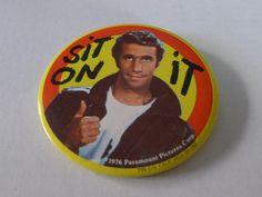 Fonzie LARGE Vintage Pinback Button 1976 sit on by BonanzaRecords