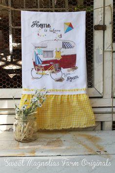 "Flour Sack Kitchen Towel...  Beach Cottage Farmhouse Ruffle ""Vintage Trailer""- Bike - Kite - Swimsuit -Canned Ham - Travel - Camping"