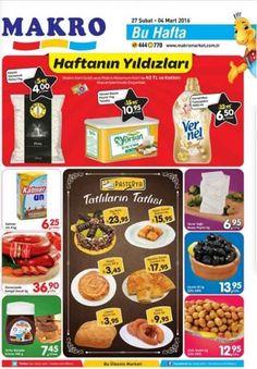 Makro market mağazalarında kampanyalar ve indirimler sürüyor. Makrolarda bu hafta 27 Şubat - 4 Şubat 2016 tarihleri arasında geçerli olacak kampanya fırsatlarını aşağıdaki katalogda inceleyebilirsiniz.  Makro Kart Gold veya Makro Maximum Kart ile 40 TL ve üzeri alışverişlerde; Köytür Osmancık Pirinç 1 kg 4 TL Yörsan Beyaz Peynir 1 kg Teneke 10,95 TL Vernel Max Yumuşatıcı 1440 ml 6,50 TL Sadece 29 Şubat tarihinde geçerli olacak indirimler; Algida Classic Dondurma 1 lt %50 İndirim Pekmez…