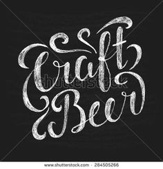 Chalk illustration with  lettering. Craft beer. Element for poster in pubs and bars.