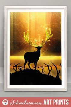 Wildlife Scene Glitter Lights Crystal Illustration Glowing Home Decor Deer Hunter Deer Silhouette Reindeer Art Print Gold Wall Art Forest Animal Starlight Sparkle Golden Sunset Starry Night Shiny Star Artwork Digital