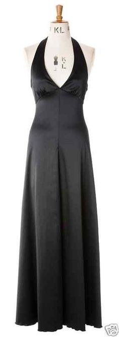 Baylis & Knight BLACK Satin Long MAXI Halter Marilyn Gown Classic Princess Dress