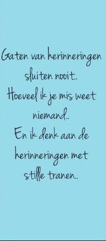 Gaten van herinneringen sluiten nooit. Hoeveel ik je mis weet niemand... En ik denk aan de herinneringen met stille tranen...: Wall Quotes, Words Quotes, Wise Words, Sayings, Dutch Words, Qoutes About Love, Dutch Quotes, Love Hurts, Thoughts And Feelings