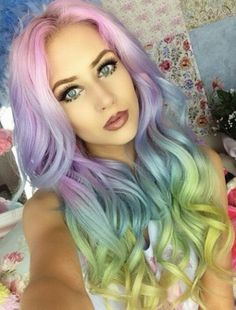 Pastel rainbow ombre dyed hair color inspiration