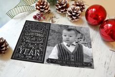 Chalkboard Christmas Card Christmas Cards by WolcottDesigns #christmascards