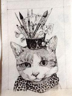 ホルベイン画材×ヒグチユウコ クロッキー帳の原画。 「猫」製作途中