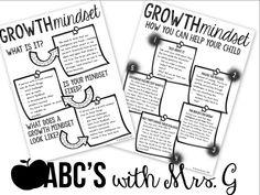 Growth Mindset Parent Handout FREEBIE!