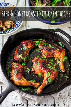 Beer & Honey Roasted Chicken Thighs | www.oliviascuisine.com