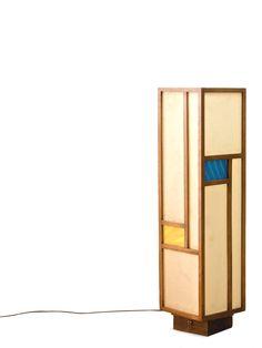 Mondrian x shoji.  Vintage Taliesin Walnut Floor Lamp   $750    I could sooo make this...