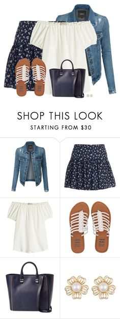 """Denim Jacket And Skirt"" by sherbear1974 ❤ liked on Polyvore featuring LE3NO, L'Agence, Etro, Billabong and Rebecca Minkoff"
