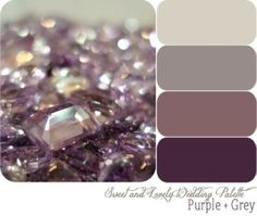 Master bedroom colors – grey walls, antique purple quilt, plum, silver and glass accents!