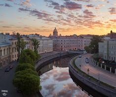 Канал Грибоедова, Львиный мост, Исаакиевский собор, город, крыши