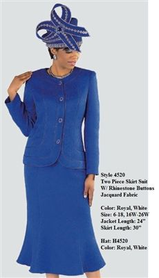 """Tally Taylor 4520 2 piece Skirt Suit Colors: Royal, White Jacket Length: 24"""" Skirt Length: 30"""" Sizes: 6, 8, 10, 12, 14, 16, 16W, 18, 18W, 20W, 22W, 24W, 26W Hat: H4520"""