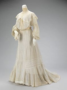 Wedding ensemble Manufacturer: H & W Company Date: 1903 Culture: American Medium: leather, cotton, silk, metal, linen, ivory, mother of pearl