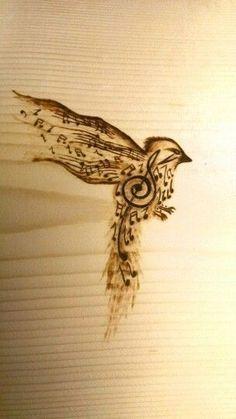 Songbird based on tattoo pyrography (wood burning) Wooden . - Songbird based on tattoo pyrography (wood burning) Woodworking DIY - Wood Burning Crafts, Wood Burning Patterns, Wood Burning Art, Pyrography Designs, Pyrography Patterns, Pyrography Ideas, Dremel, Wood Projects, Woodworking Projects