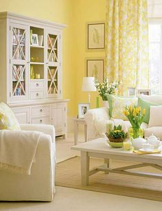 Appealing Why Should I Paint My Yellow Living Room ?: Cool Yellow Living Room With A Lot Of Furniture And Decoration And The Bright Sun Also Butter Yellow Colored With Gold Tones And Red Couch Also Color Yellow Wall ~ vitmol Living Room Paint, Home Living Room, Living Room Designs, Living Room Decor, Bedroom Decor, Master Bedroom, Wall Decor, Shabby Chic Living Room, White Furniture