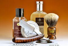 "Haslinger sheeps milk shave soap, Simpson Jubilee badger brush, Hart Steel 6/8"" shorty straight razor, The Art of Shaving sandalwood aftershave balm, Trufitt & Hill sandalwood cologne, January 28, 2016.  ©Sarimento1"