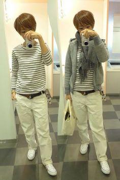 ホワイトとグレーで統一したベーシック。  Outer/Gymplex Tops/ORCIVAL Bottoms/JOURNAL STANDARD Bag/THREAD-LINE Shoes/CONVERSE  Today is the standard casual gray and white.  こういうスタイルって20年後も着れそうですよね。