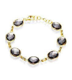 Getana & Co - Greenwich Collection 14K Gold Oval Smoky Topaz Bracelet