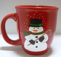 Snowman Coffee Mug Handpainted Personalized by Kathy1910 on Etsy, $10.00