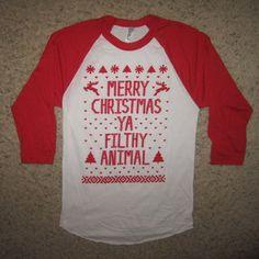 3 4 Raglan Womens Vintage Ugly Sweater Merry Christmas Ya Filthy Animal T Shirt   eBay