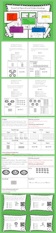 1 and 2 Step Multiplication and Division problems.  Complete Unit- includes lesson plans, guided math small group lesson plans, manipulatives, interactive notebook problem sorts, interactive notebook notes page, task cards and 3 whole class games!  Answer keys and answer sheets are included.