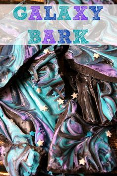"""Colorful """"galaxy bark"""" dessert for an outer space themed birthday party (Chocolate Bark Kids) Galaxy Party, Theme Galaxy, Galaxy Cake, Food Galaxy, Galaxy Galaxy, Galaxy Wedding, Birthday Party Decorations, Birthday Parties, Birthday Ideas"""